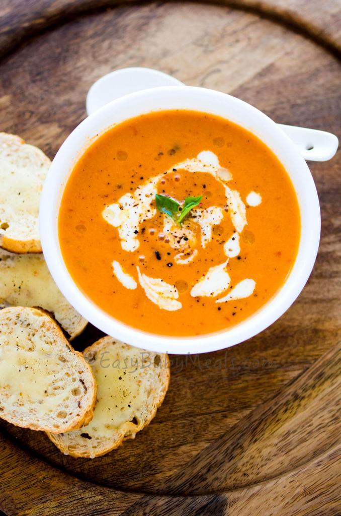 Roasted Tomato And Basil Soup-Kids Friendly Soups For Fall-Winter- Easy Baby Meals