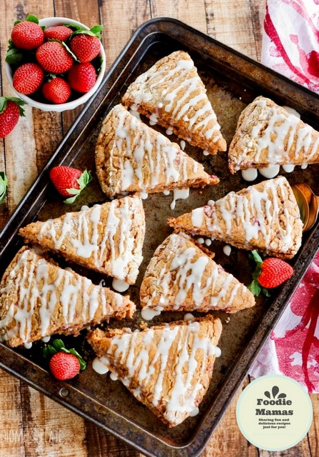 Whole Wheat Strawberry Scones Lemon Glaze