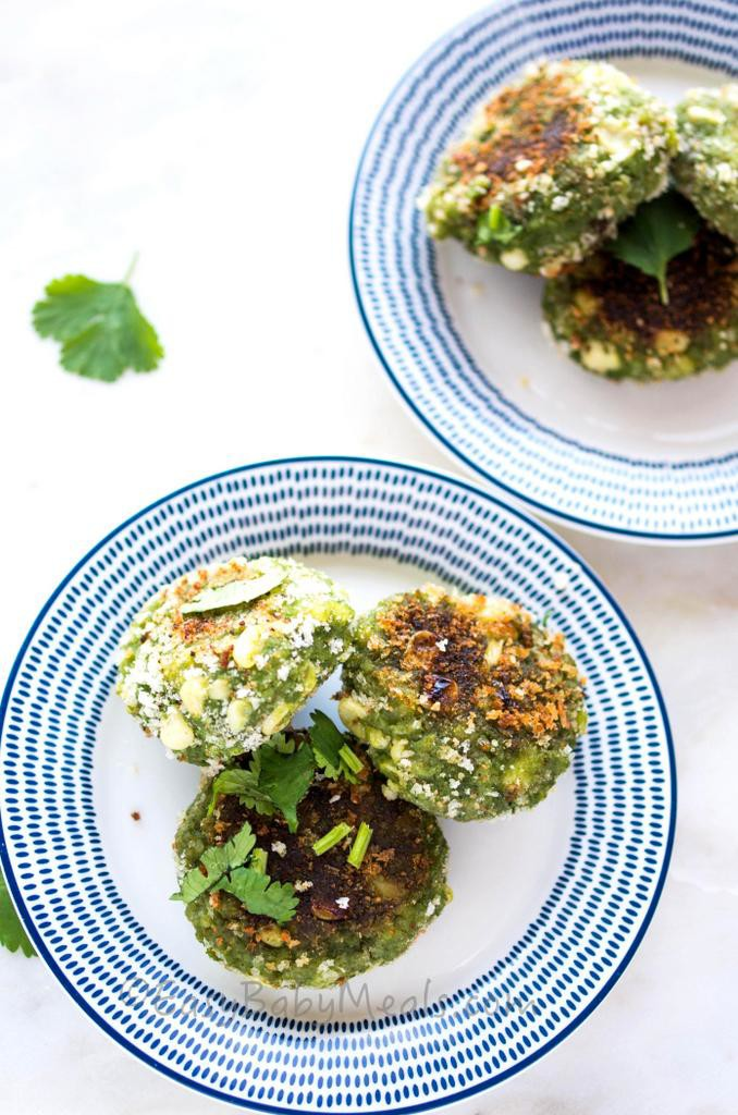 Spinach Corn Tikkis- More at www.easybabymeals.com
