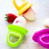 Yogurt Strawberry Popsicles