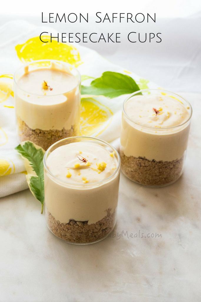 Lemon Saffron Cheesecake Cups- Spring Summer Dessert