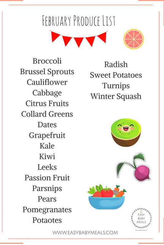 February Produce List + Recipes- Easy Baby Meals