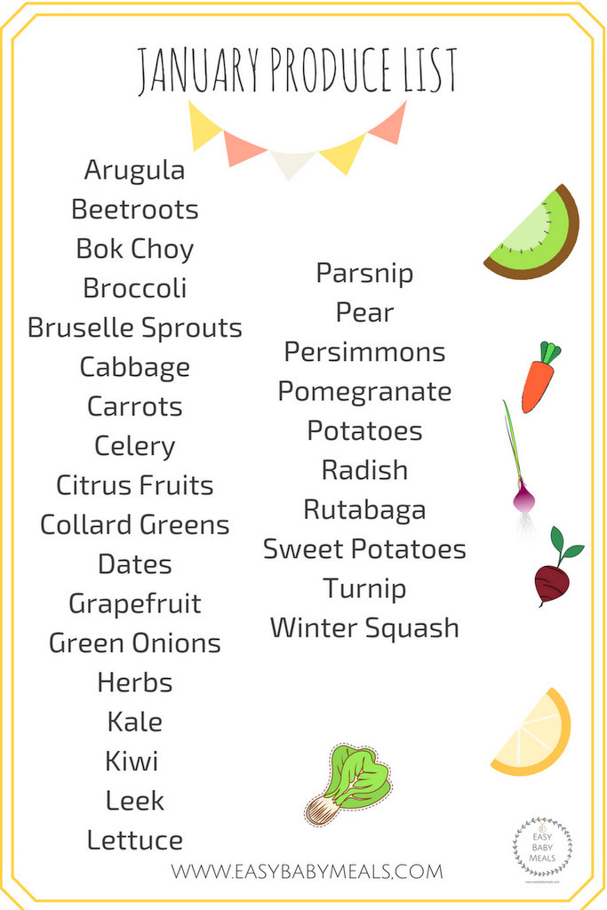 JANUARY PRODUCE LIST- Easy Baby Meals-www.easybabymeals.com