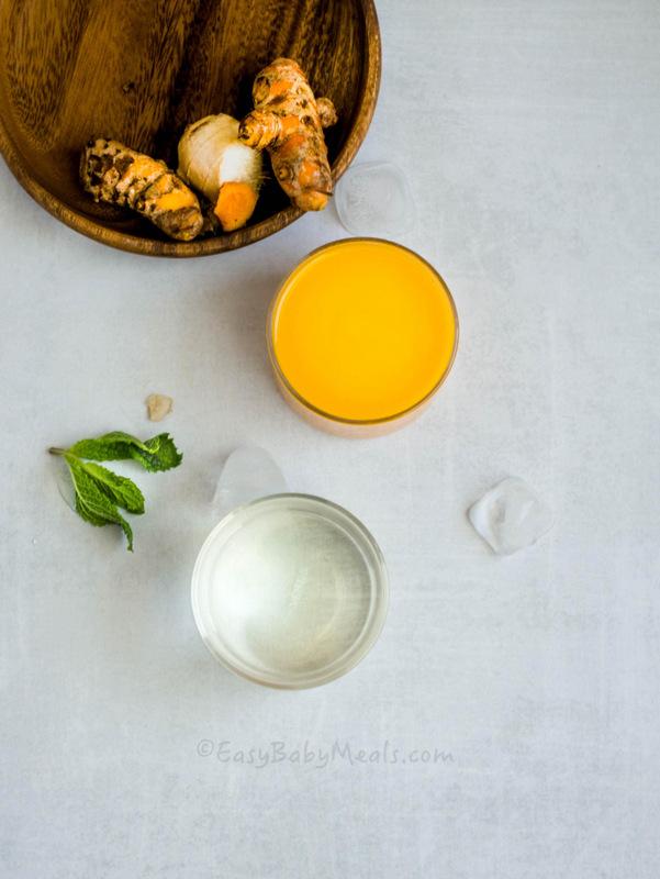 Mango Turmeric Smoothie (Ingredients) Easy Baby Meals-www.easybabymeals.com