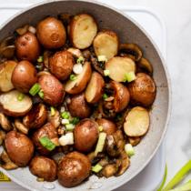 Cajun Spiced Mushrooms And Potatoes In A Pan.