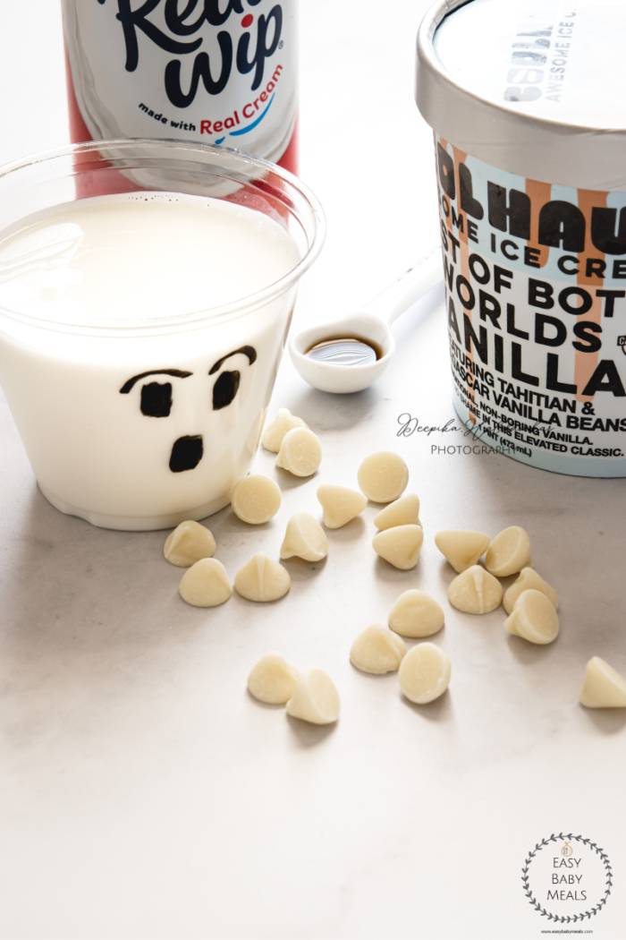 Ingredients of white chocolate milkshake